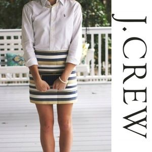 J. Crew navy and gold striped skirt sz6